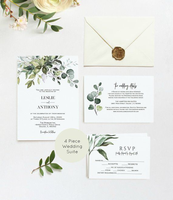 Greenery Wedding Invitation, Wedding Invitation, Printable Wedding Invitation Template, Instant Download, Edit with TEMPLETT, WLP-HER 1254
