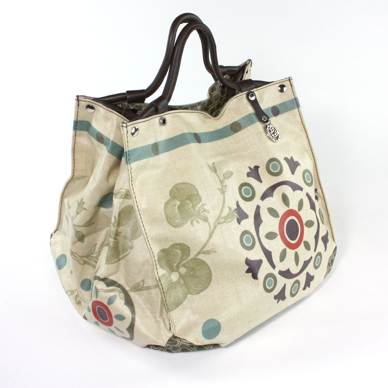 Circus Cube Tote By Bontemps France From The Juniper Hearth E Emporium Large Handbag With Retro Print Moss Green Purple And Red Accents 195
