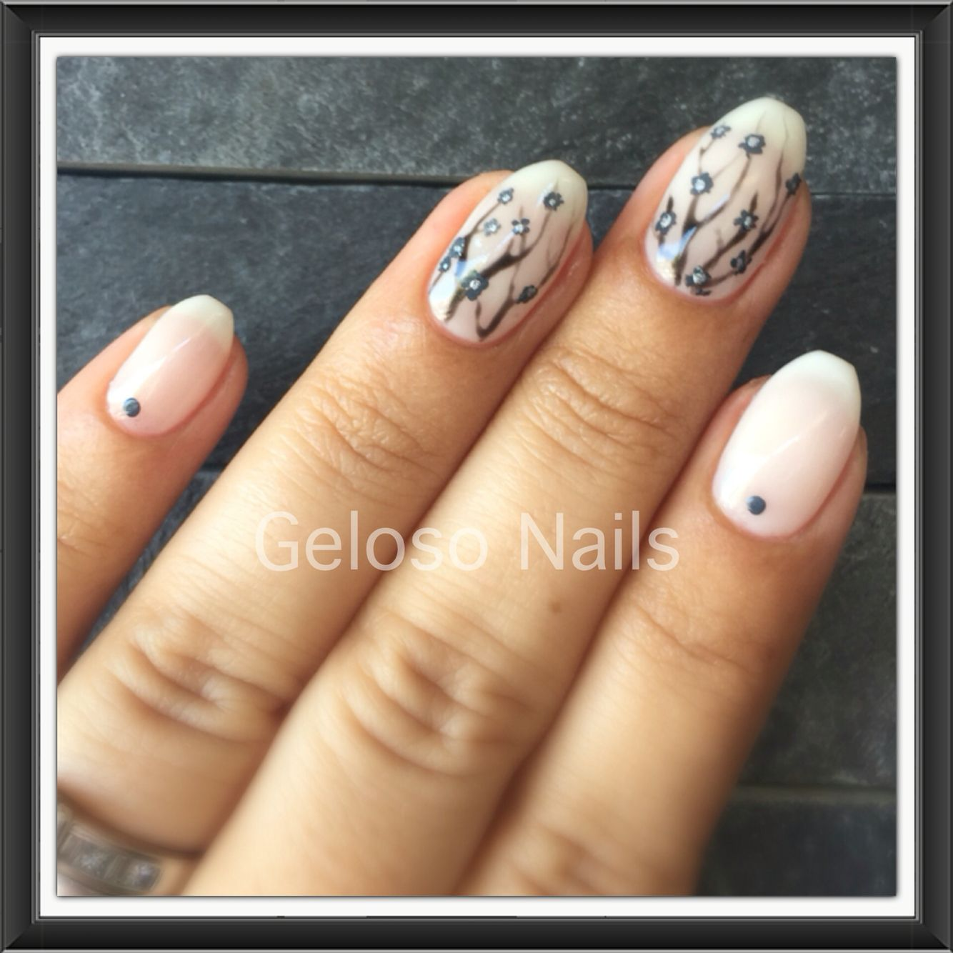 Progel beachcomber with freehand cherry blossoms nail art   Geloso ...