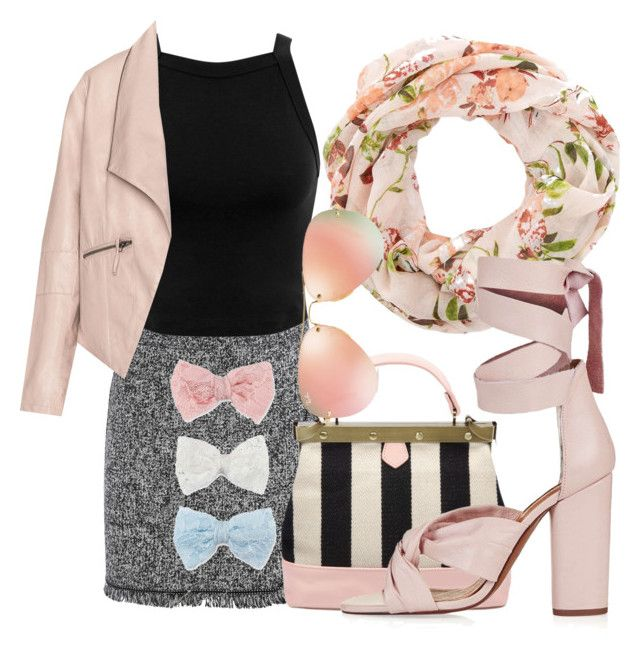 """""""Cute Bow"""" by kimbo20111 ❤ liked on Polyvore featuring Miss Selfridge, Zizzi, Topshop, Ray-Ban and Decree"""