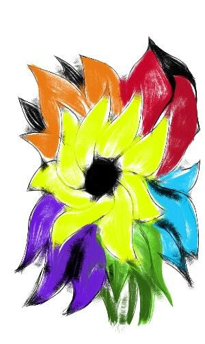 Quick bouqet of yellow purple blue orange and red flowers