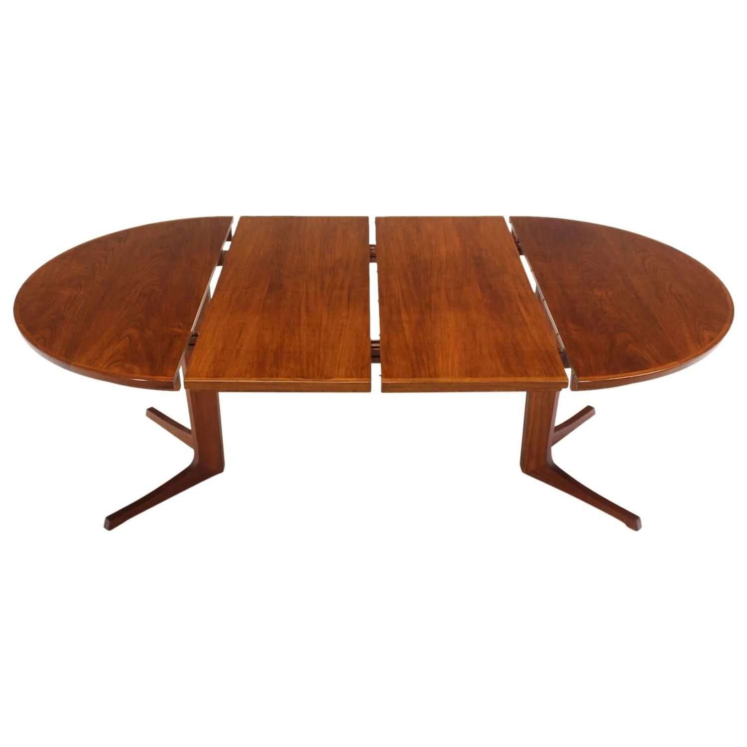 Round Danish Mid Century Modern Teak Dining Table With Two Leaves