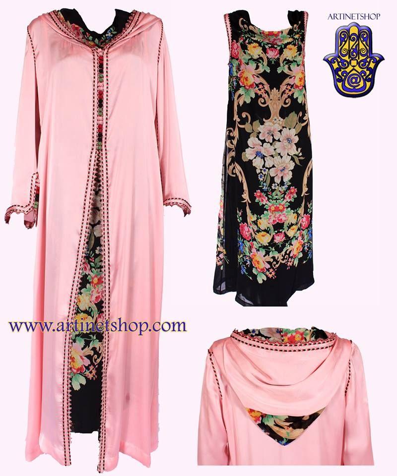 Djellaba en satin de soie et sa robe en cr pe imprim avec for Caftan avec satin de chaise