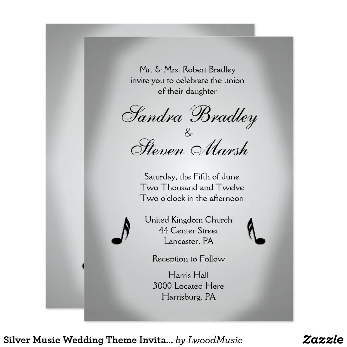 Silver Music Wedding Theme Invitation | Music wedding themes and ...