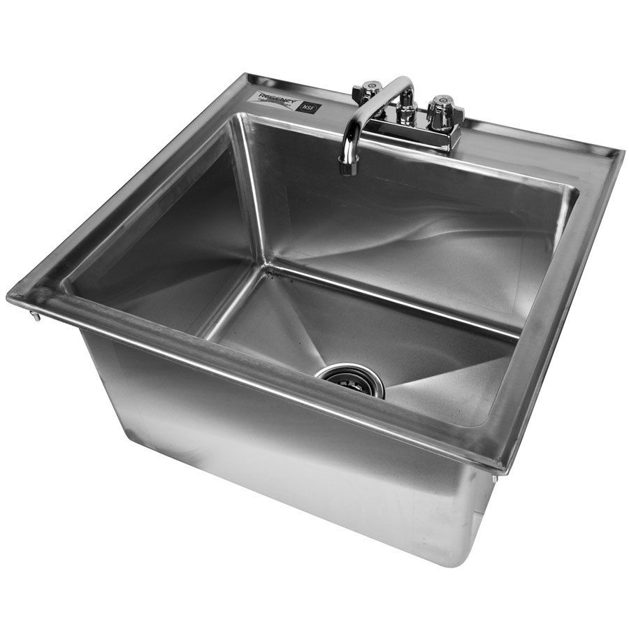 Regency 20 X 16 X 12 16 Gauge Stainless Steel One Compartment Drop In Sink With 8 Faucet Sink Faucet Stainless Steel Sinks