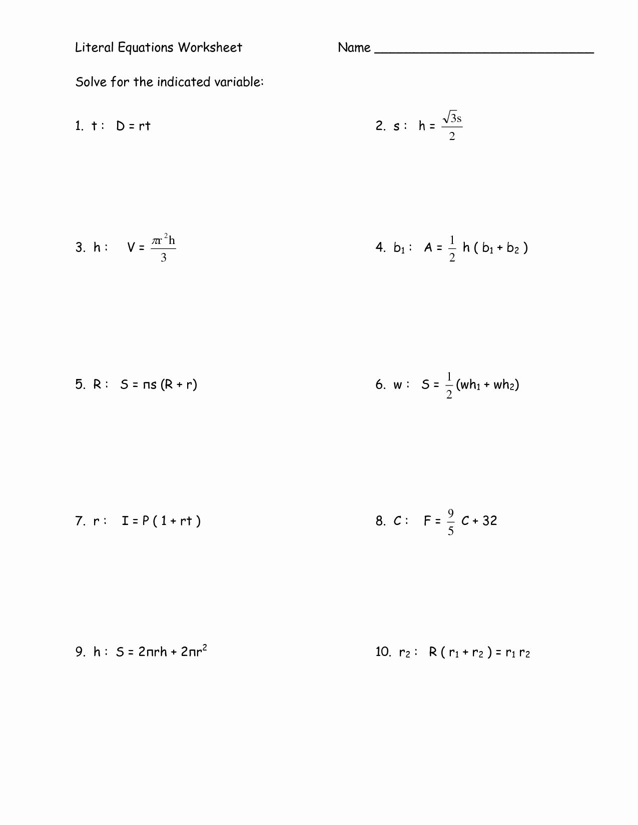 Solve Literal Equations Worksheet Best Of 14 Best Of