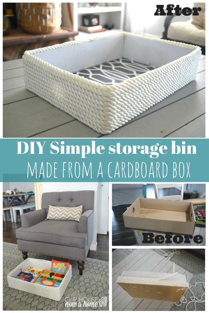 Creating a simple storage bin using rope and a cardboard