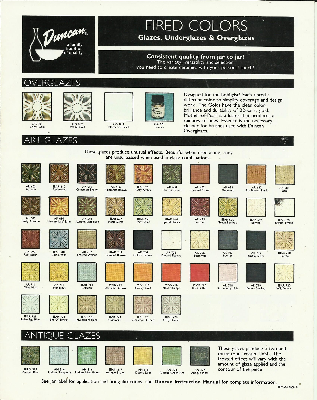 Duncan art glaze color chart ceramics pinterest colour chart duncan art glaze color chart geenschuldenfo Choice Image