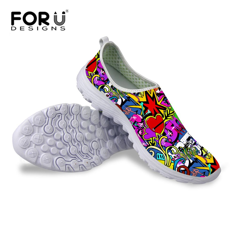 UK Shoes Store Womens Running Shoes Fashion Floral Walking Shock Absorbing Sport Shoes Sneaker