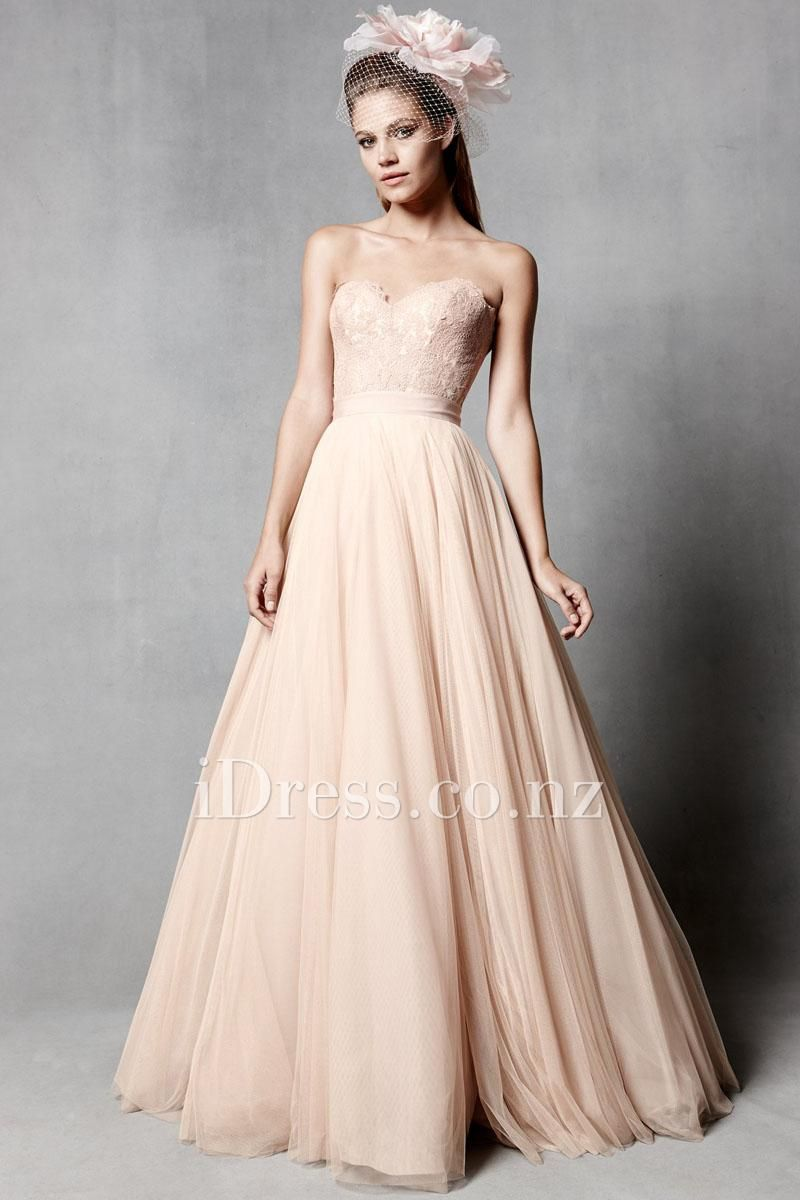 Soft net strapless sweetheart bridal ball gown with belt from idress
