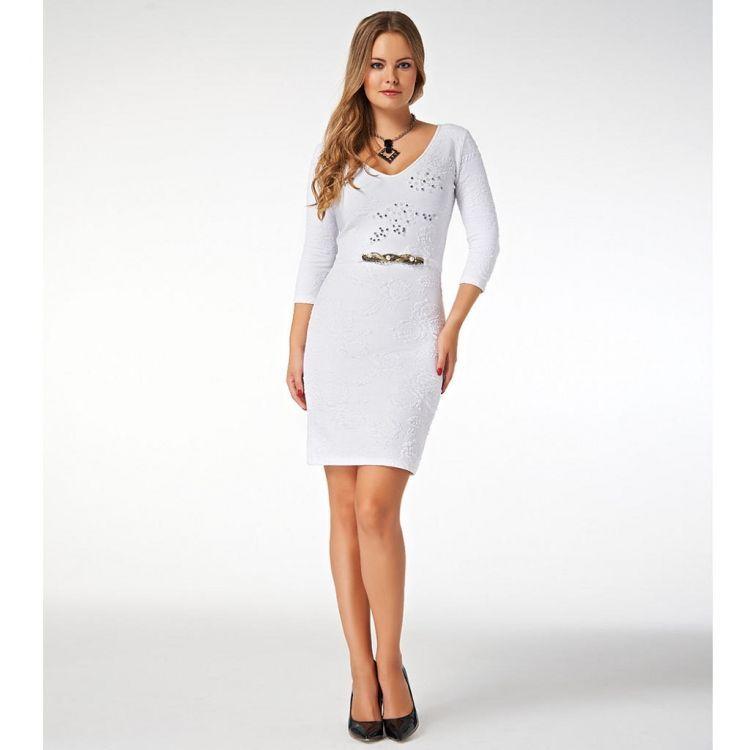 Tasli Beyaz Triko Elbise Giyim Elbise Triko