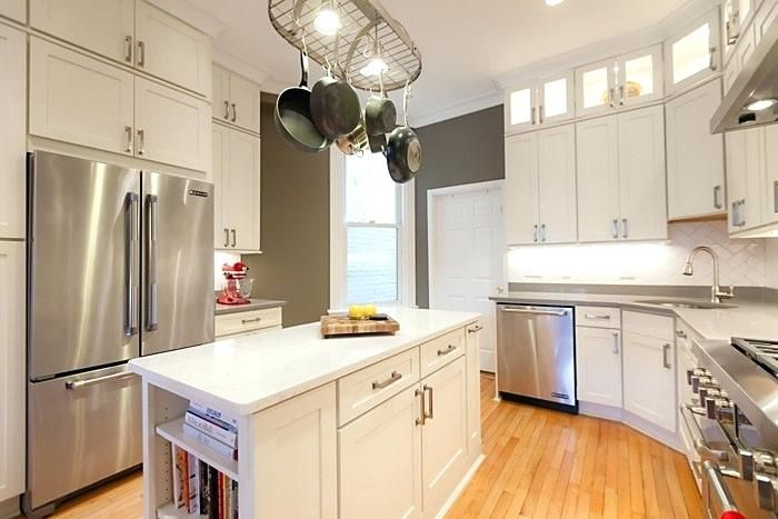 painted white shaker kitchen cabinets dc kitchen remodel white shaker cabinets white kitchenaid mixer repair #whiteshakercabinets