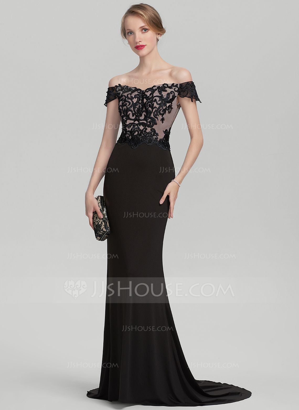 d3b02827 Trumpet/Mermaid Off-the-Shoulder Sweep Train Beading Sequins Zipper Up  Regular Straps Sleeveless No Black General Plus Lace Jersey Height:5.7ft  Bust:33in ...