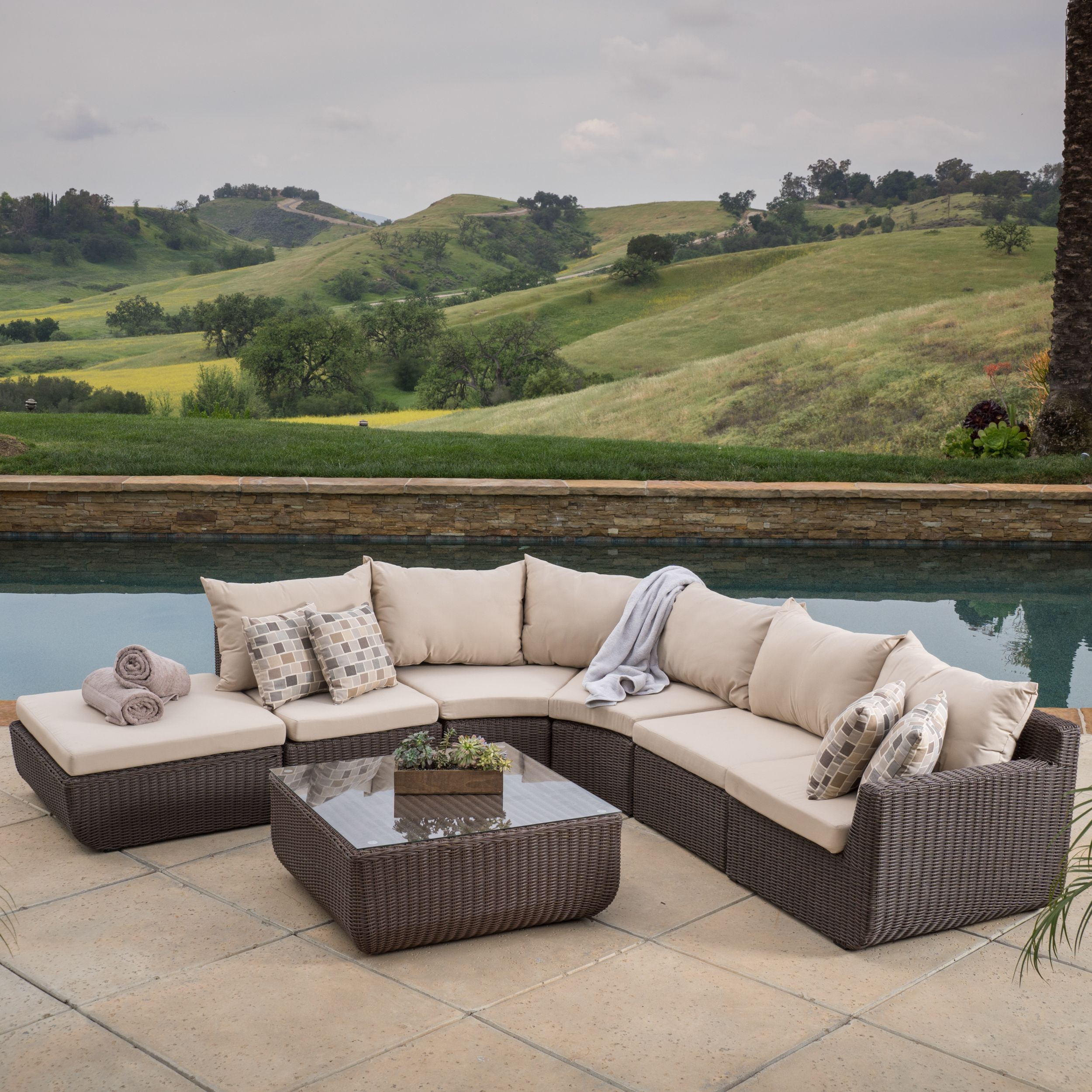 Best Carmel 7 Piece Outdoor Sofa Sectional With Sunbrella 400 x 300