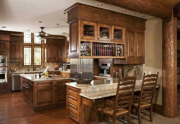 Pin By Paula Holcomb On Kitchen Bar Area Living Room And Kitchen Design Log Home Kitchens Open Concept Kitchen Living Room #separate #kitchen #from #living #room