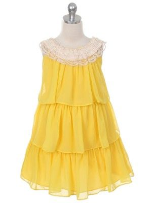 Yellow Chiffon Crochet Neckline 3 Tier Flower Girl Dress (Available in Sizes 4-14  in 4 Colors)