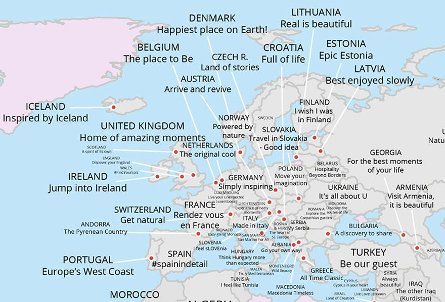 Map reveals every countrys tourism slogan maps pinterest countries do a lot of things to market themselves to tourists and one of them is using slogans holiday deals website family break finder has collected all gumiabroncs Image collections