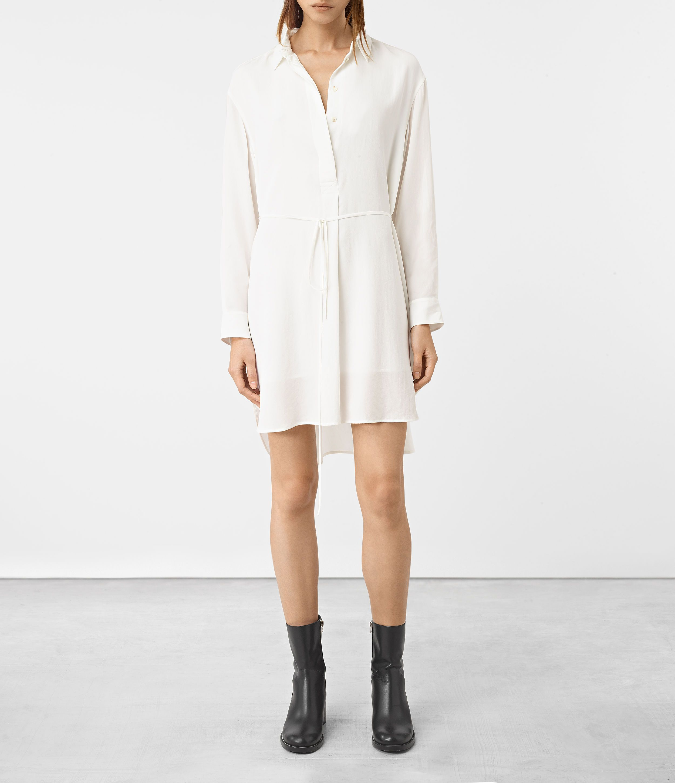 ALLSAINTS UK: Womens Alex Silk Shirt Dress (Chalk White)   Shirt ...