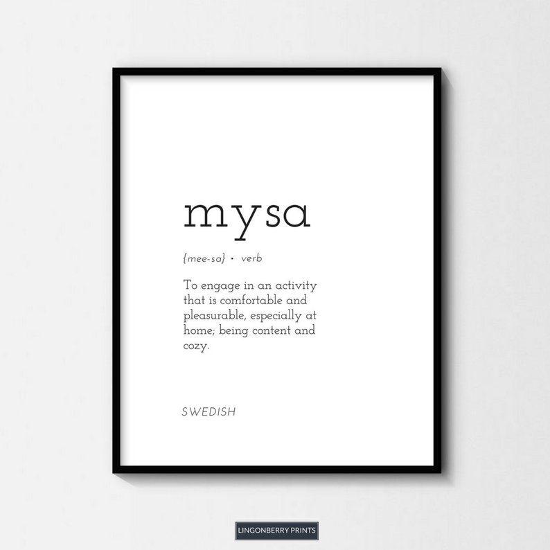 Mysa Definition Print Swedish Scandinavian Nordic Cozy Cosy Etsy Unusual Words Peace Quotes Definition Prints