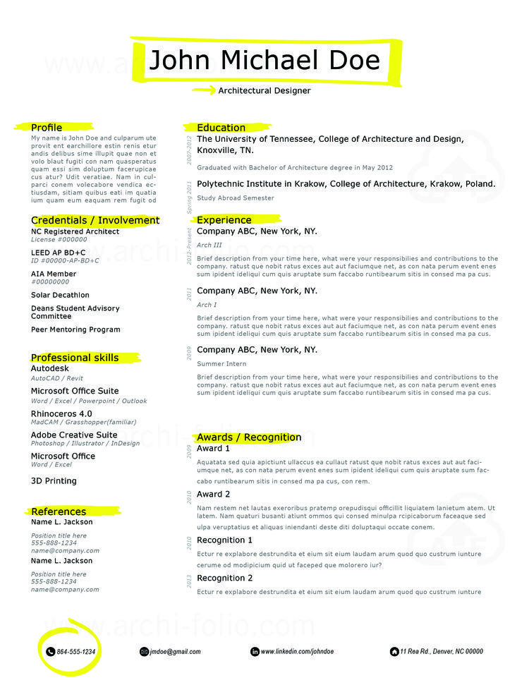 Resume // Highlighter 2 Theme //Customizable//Professional Architecture/Graphic  Design