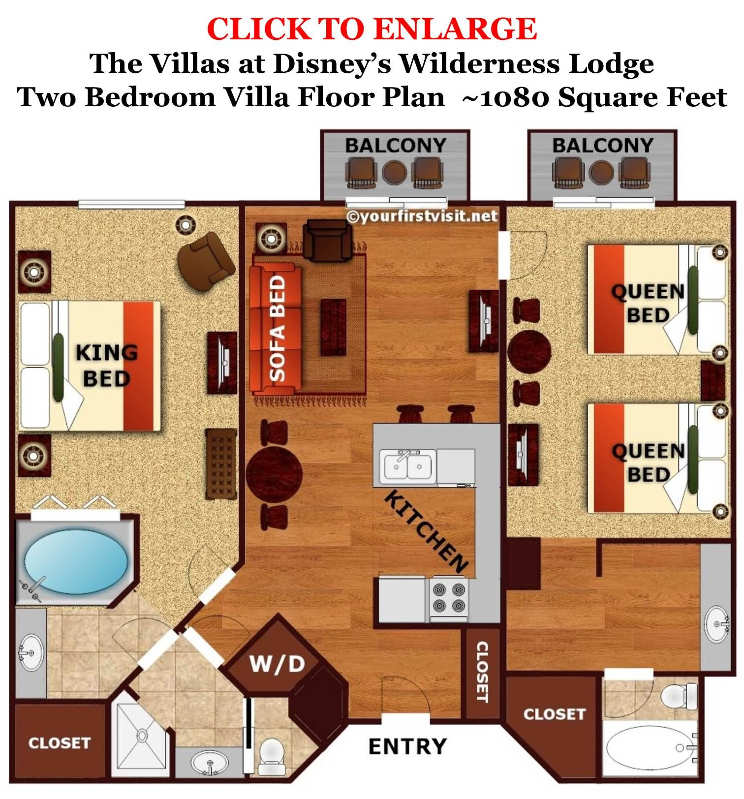 The Master Bedroom And Bath Area Of A Boulder Ridge Villa At Disney S Wilderness Lodge Yourfirstvisit Net Disney Wilderness Lodge Wilderness Lodge Disney World Tips And Tricks