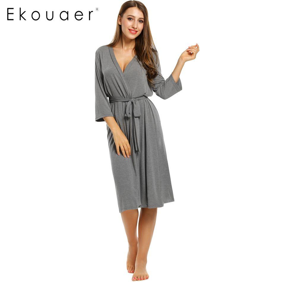 Ekouaer 긴 여자 가운 3/4 소매 솔리드 느슨한 v 넥 자체 벨트 목욕 가운 밤 섹시한 가운 나이트 성장 기모노 가운 크기 S-XL