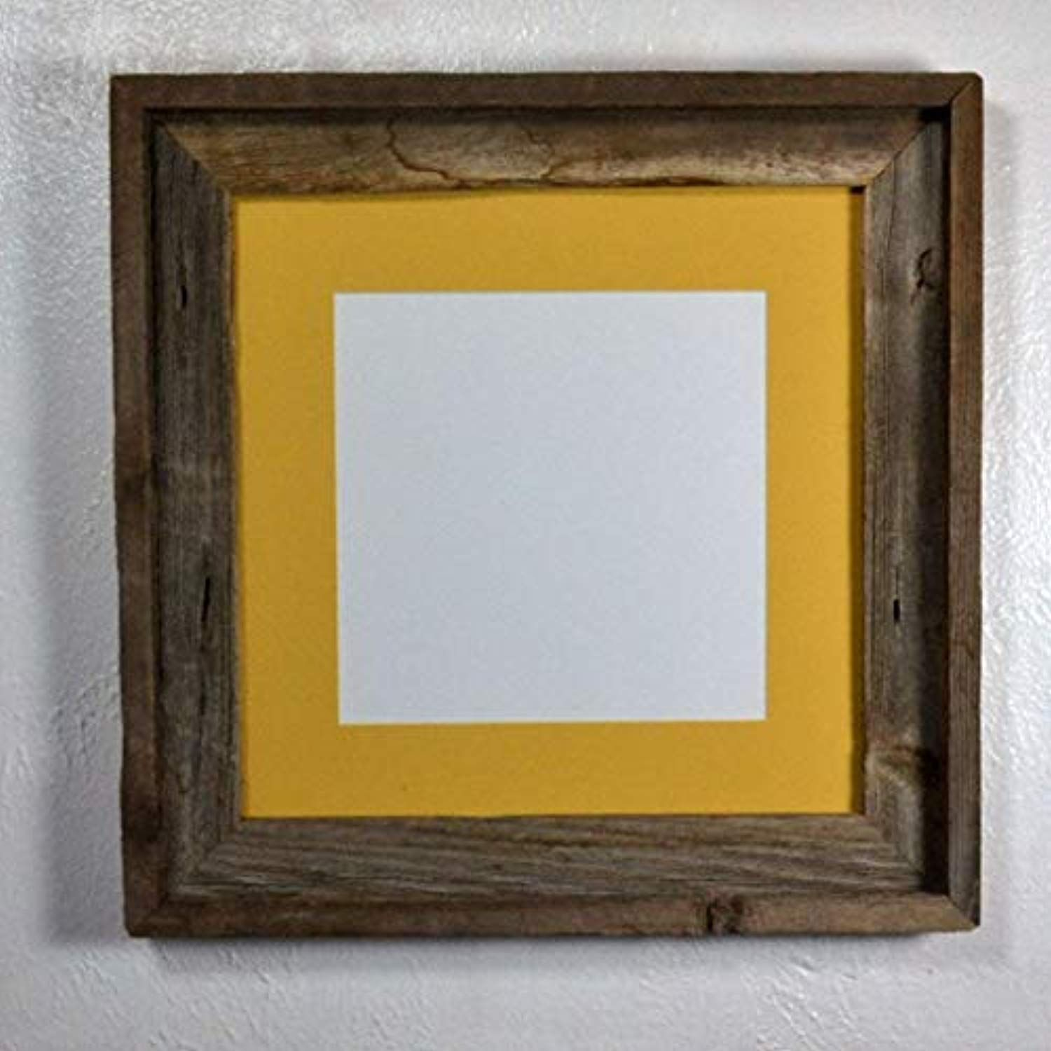 Picture Frame 8x8 Yellow Mat Rustic Reclaimed Wood Complete With Glass 12x12 Without Mat You Can Reclaimed Wood Frames Wood Picture Frames Picture On Wood