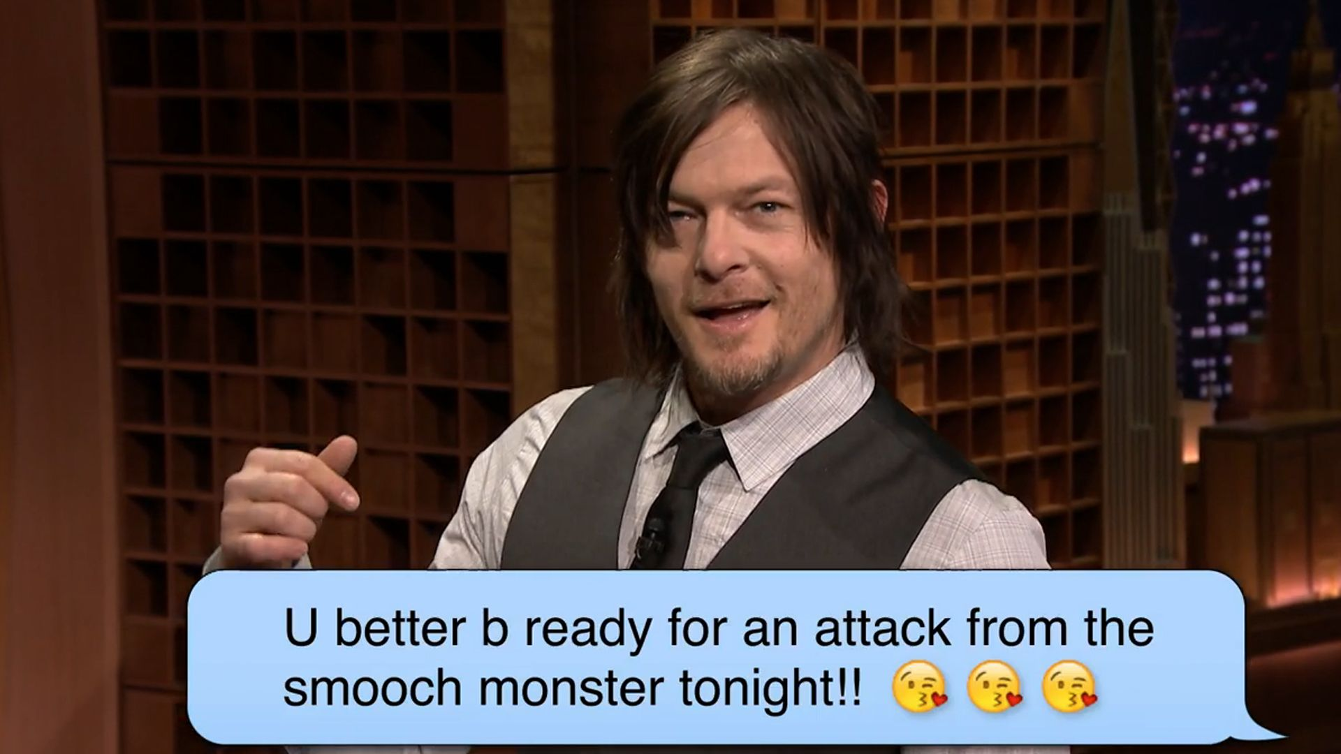 Norman Reedus Takes Aim With Romantic Texts And Lasers On Tonight Show With Images Norman Reedus Romantic Texts Daryl Dixon Memes