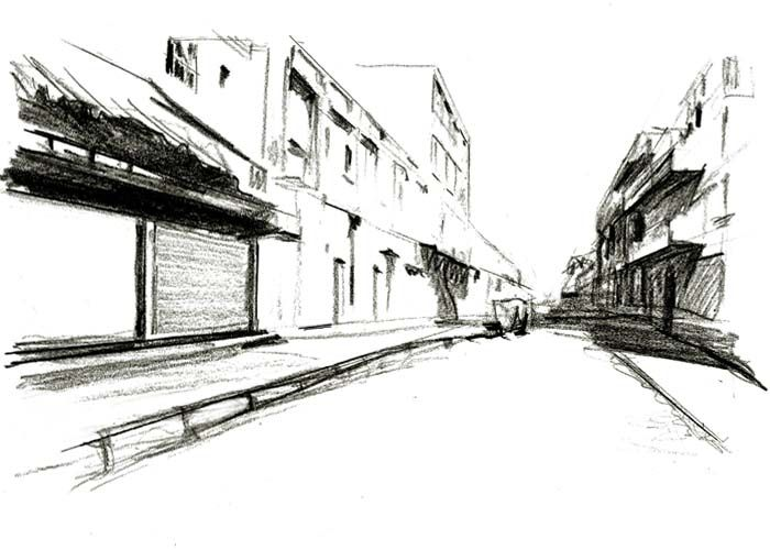 Street With One Point Perspective One Point Perspective Perspective Art Perspective Drawing