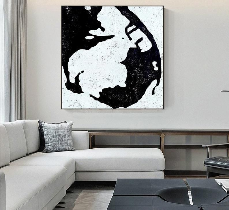 Modern Home Decor Original Art Minimalist Painting on Canvas Black and White Abstract Painting Modern Art Living Room Wall Art Free Shipping