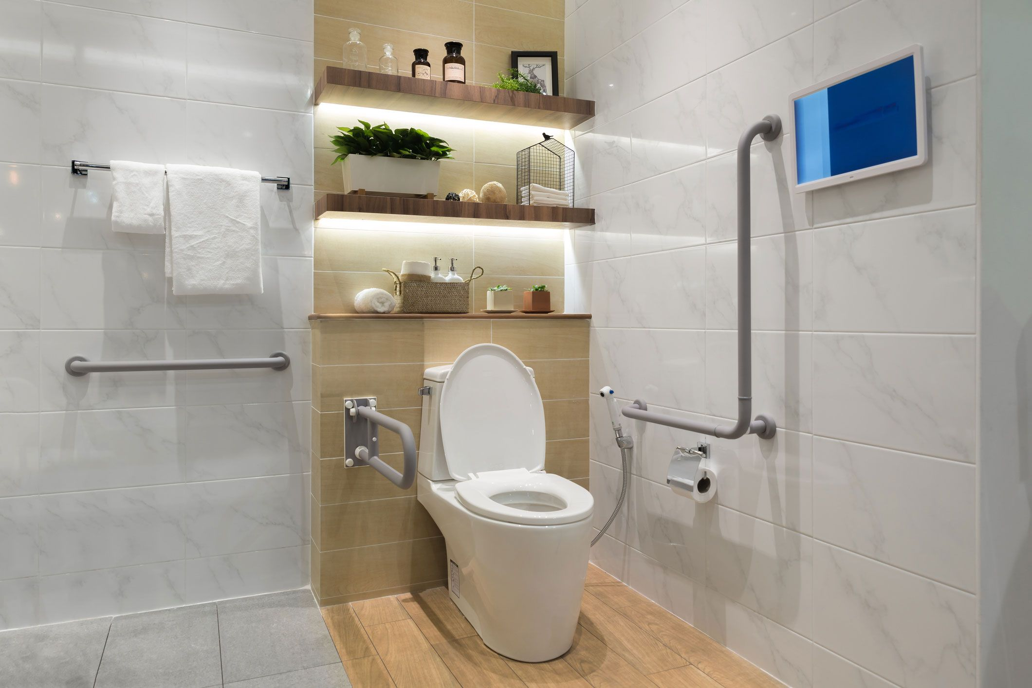 Image Bathroom With Handicap Fixtures Home Improvement - Lovetoknow