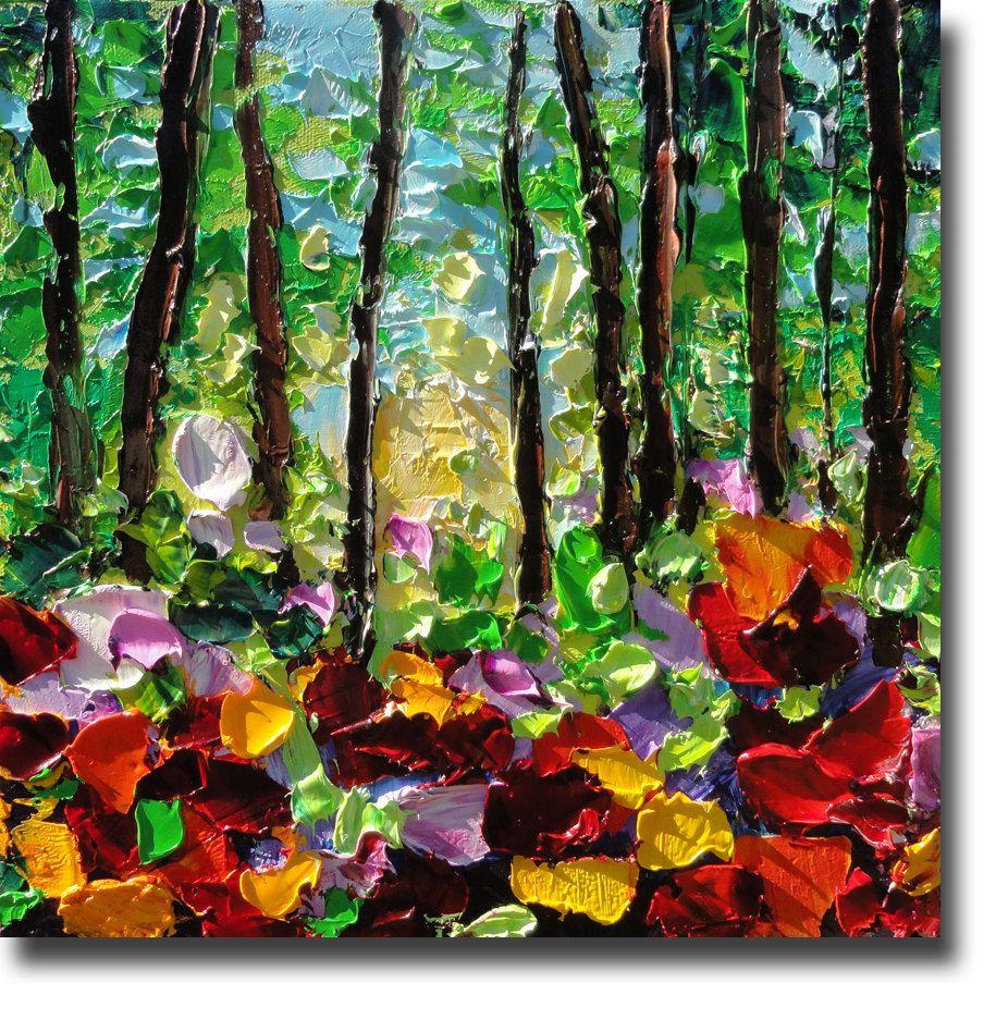 Oil Painting Trees ART B. Sasik Painting Original Garden Meadow ...