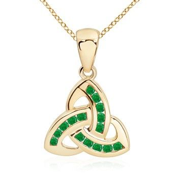Angara Marquise Emerald Pendant in Yellow Gold - Chain Length: 18 inch Q3YPw