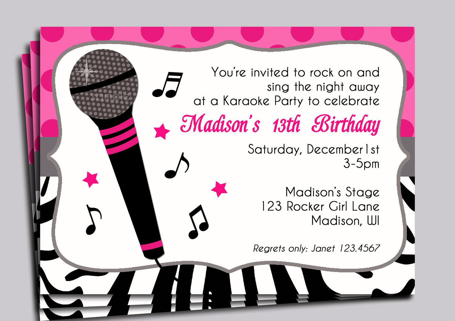 Hot Pink Zebra Invitation Printable Or Printed With Free Etsy Karaoke Party Party Invitations Printable Party Invite Template