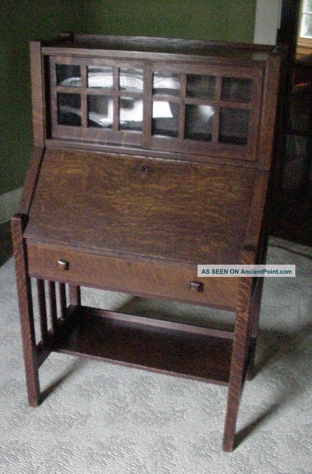 Antique Mission Oak Drop Leaf Desk W/ Bookcase Arts & Crafts Secretary - Antique Mission Oak Drop Leaf Desk W/ Bookcase Arts & Crafts