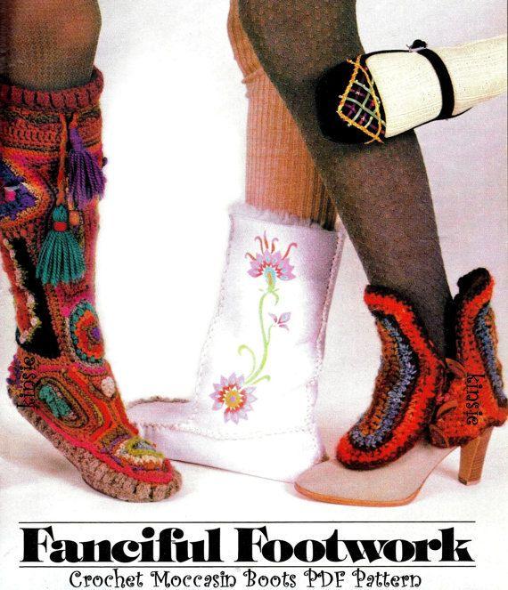 Vintage Hippie 70\'s Crochet Freeform Pixie Moccasin Boots - PDF ...