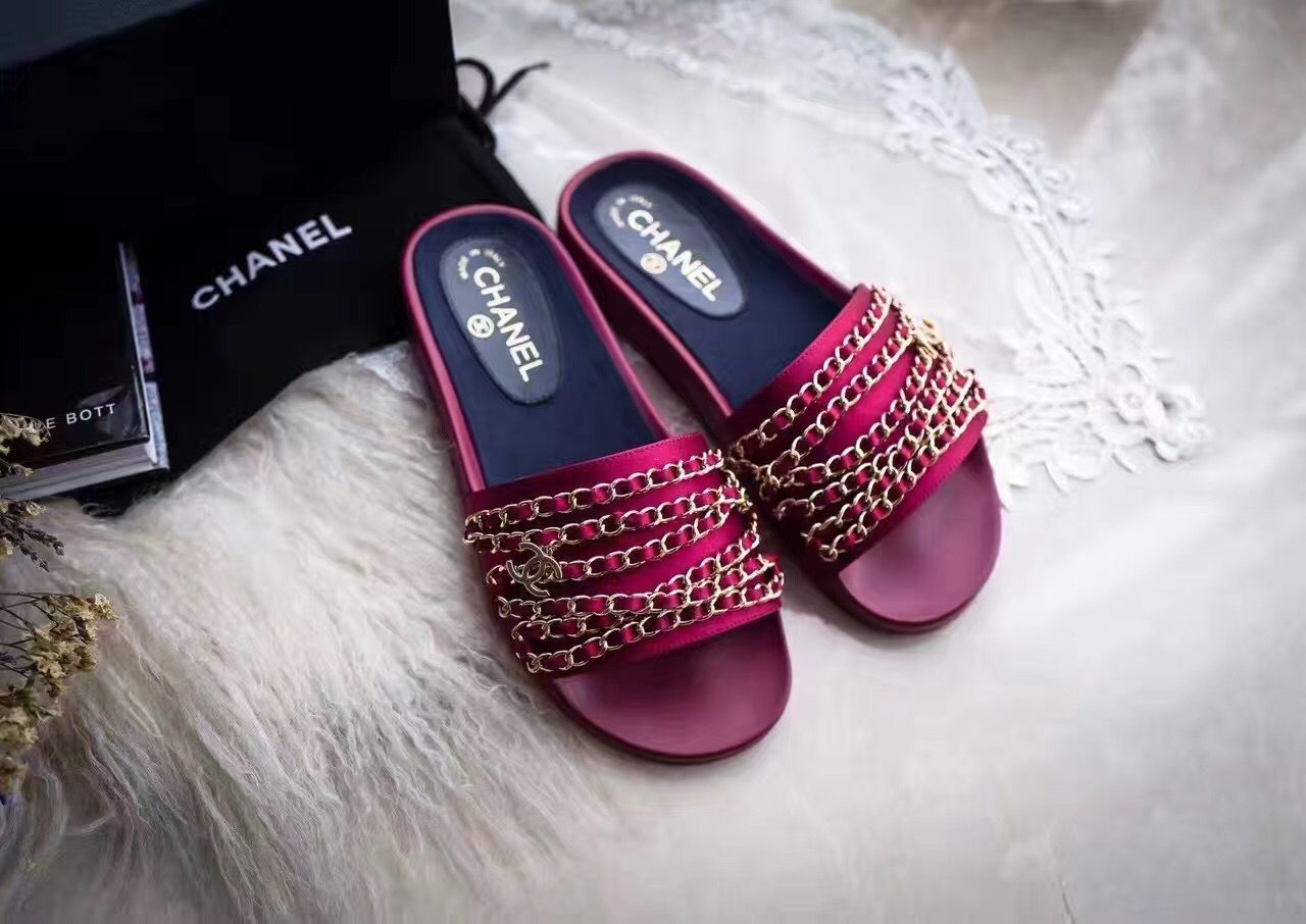 pink chanel slippers