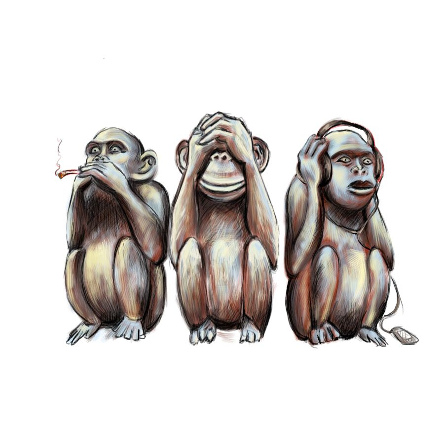 Three wise monkeys wooden ornaments - Monkey Three Wise Monkey S