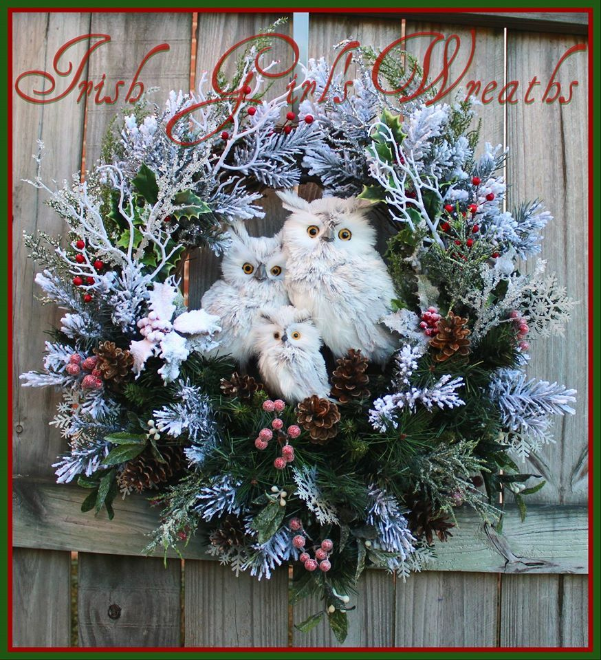 Gray Winter Owl Family Christmas Wreath For Nancy By