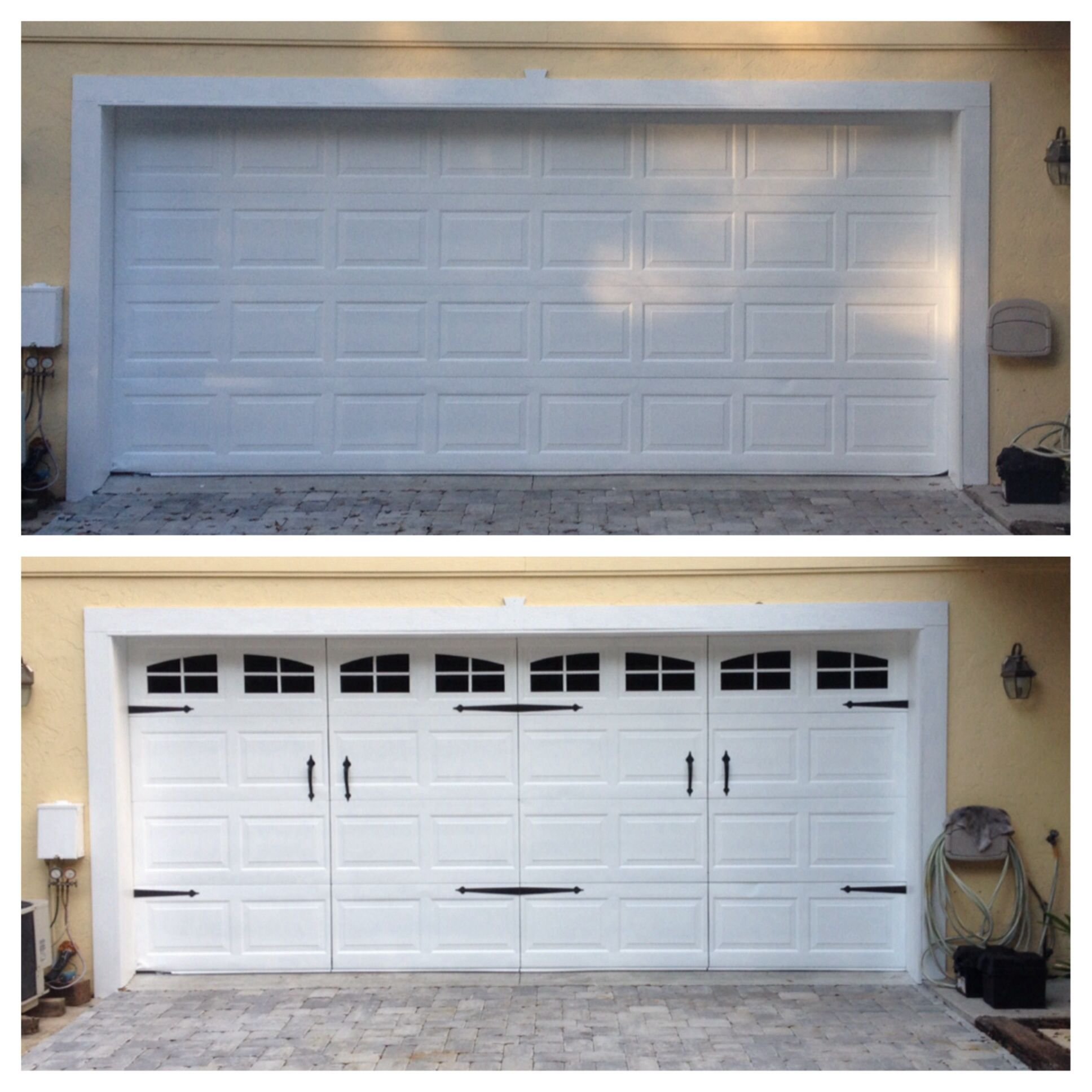 Garage door transformation with a little paint and a couple kits