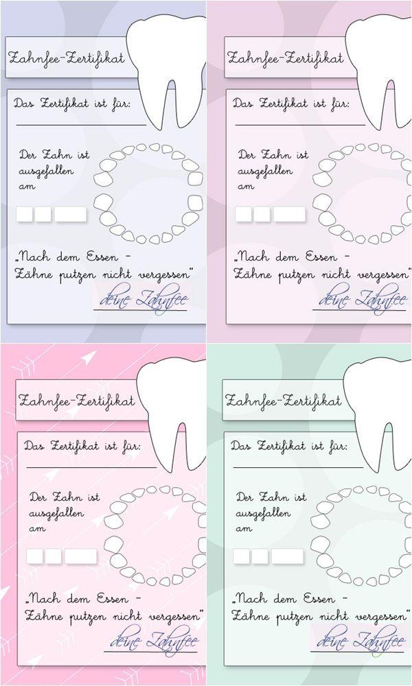 Zahnfeezertifikat Zum Ausdrucken Zahnfee Pinterest
