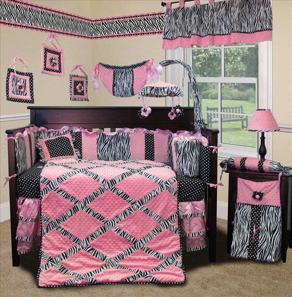 Baby Boutique Pink Minky Zebra 15 Pcs Nursery Crib Bedding Set Sisi