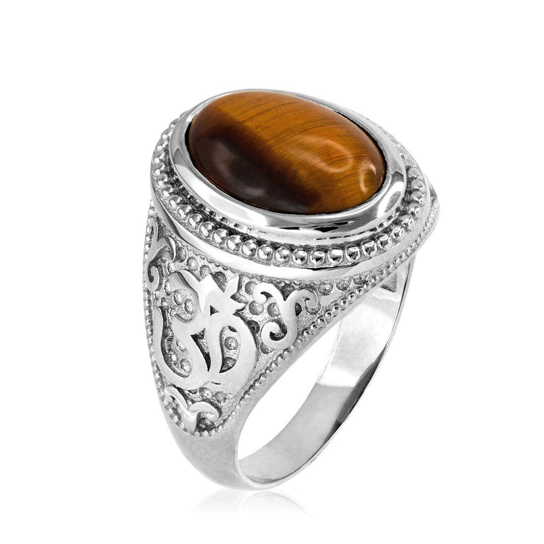 Sterling Silver Om Oval Cabochon Tiger Eye Gemstone Mens Yoga Ring