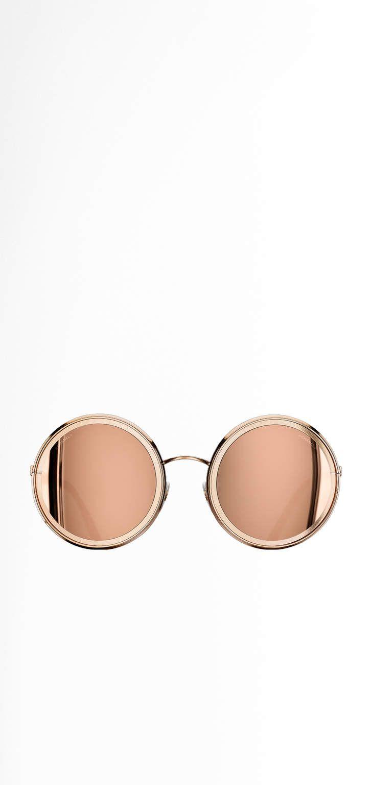 Óculos de sol redondo, metal - lentes banhadas com ouro 18 quilates-rosa  dourado 850124557f
