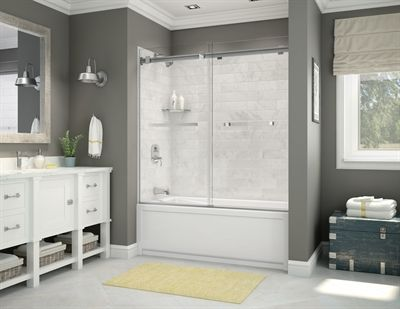 Maax Utile Marble Carrara Shower Wall Surround Side Panel ...