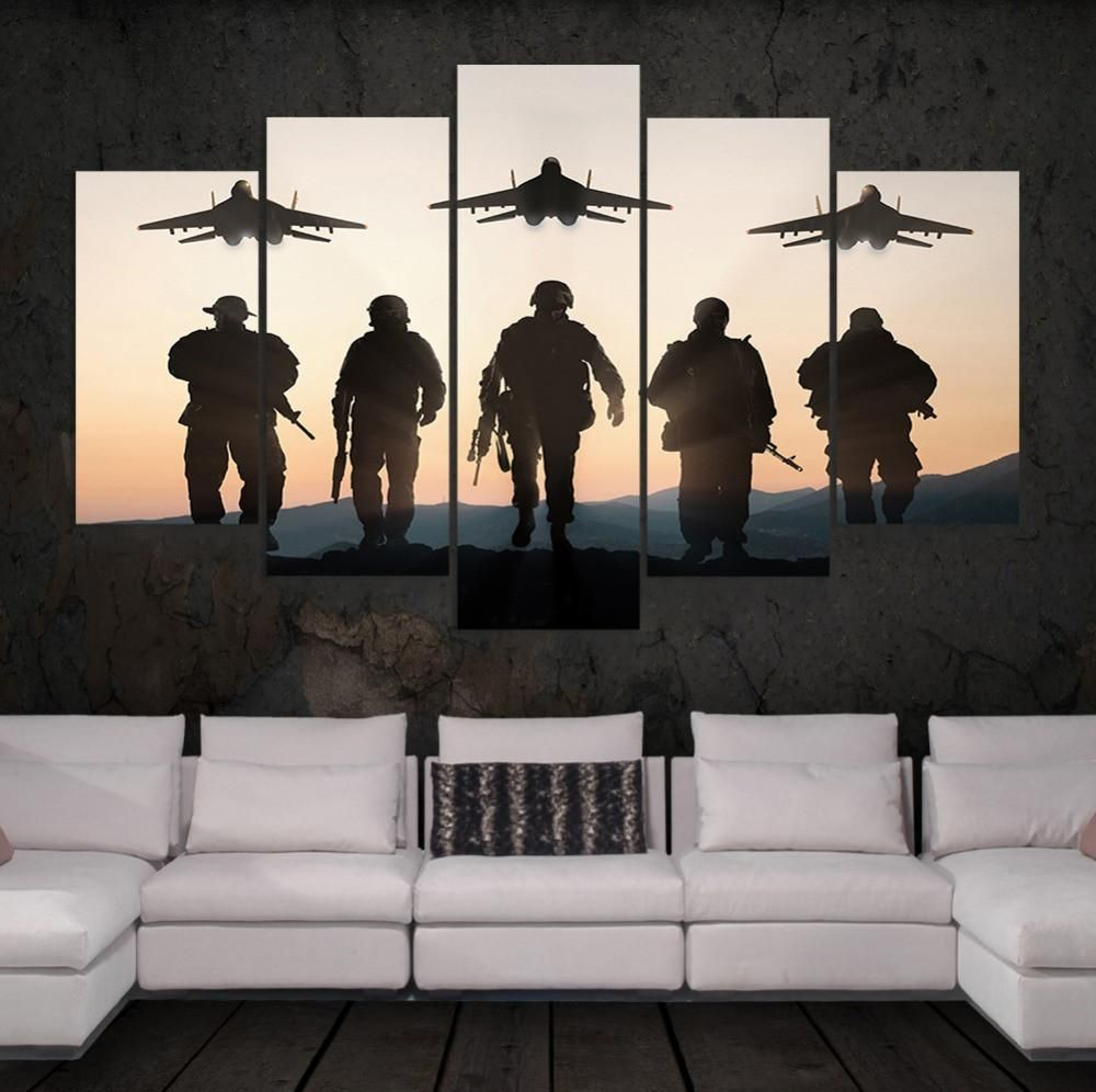 US Army Soldiers Wall Art Multi Panel Canvas