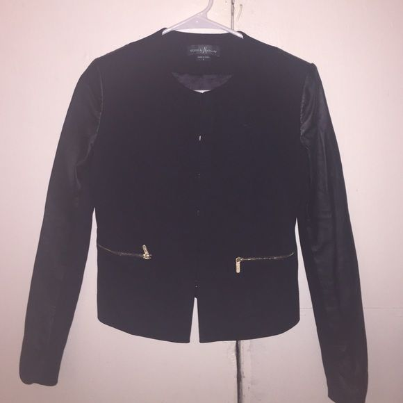 Guess jacket with leather arms size 0 Great jacket with hidden hooks to close the jacket super dressy or casual gold zipped pockets in the front and leather arms Guess by Marciano Jackets & Coats