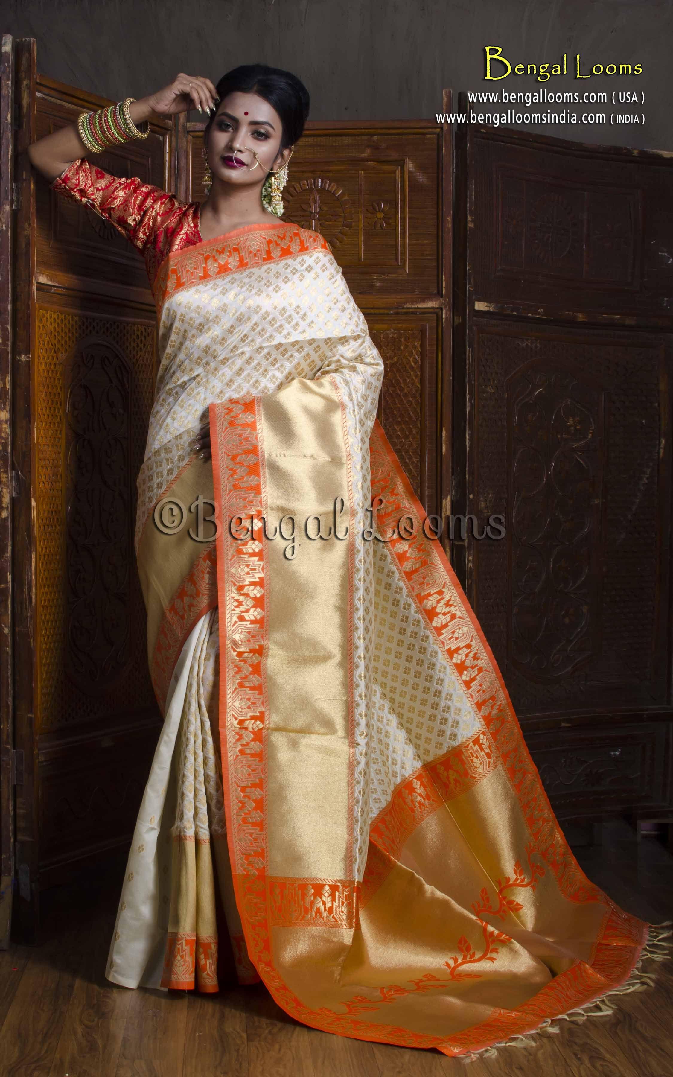 3fec2685c3bde Art Silk Brocade Banarasi Saree in Off White