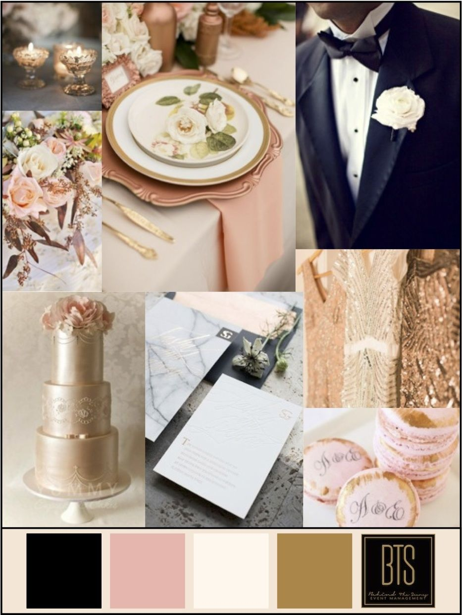 Copper Blush Ivory And Black Wedding Colors Color Scheme