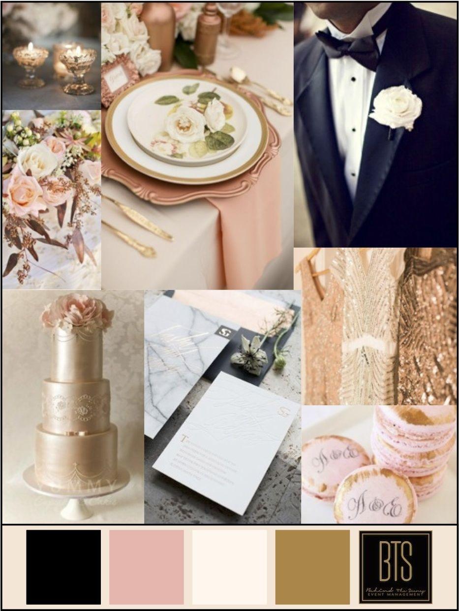 Copper Blush Ivory And Black Wedding Colors Color Scheme Inspiration Board